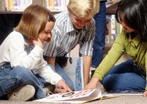 Children learning in a school environment.